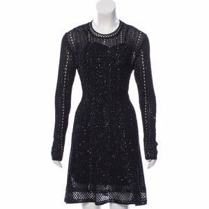 M Missoni Black Embellished Mini Dress Long Sleeve